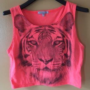 Neon lion print crop top